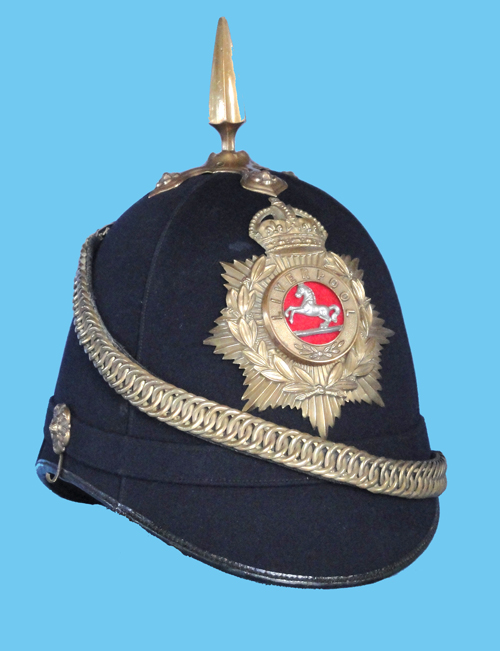 An example of an OR's helmet showing the patent leather binding, the spike and cruciform base and standardized helmet plate with regimental centre device. (Author's collection)