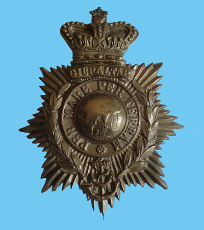An example of a one piece helmet plate to the Royal Marine Light Infantry. (Author's collection)