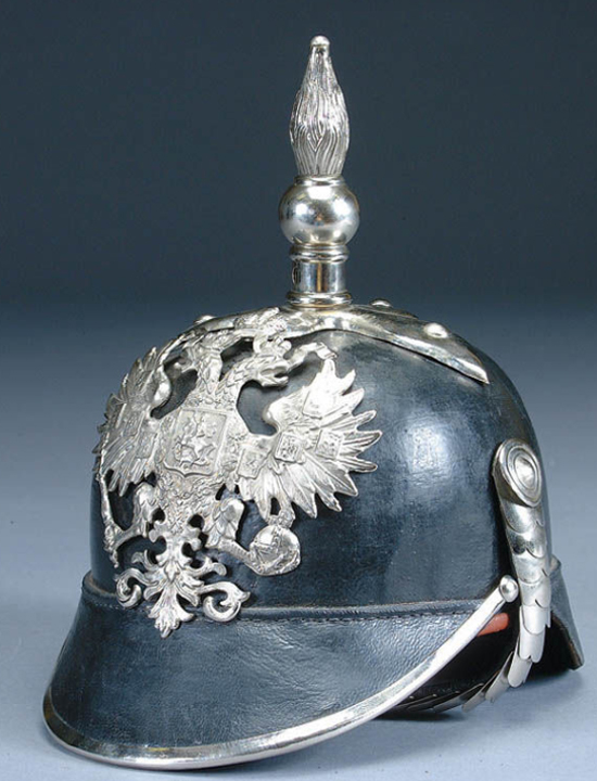 A Russian Model 1840 helmet. Note that the shape is similar to the above latter pattern Canadian Universal Pattern Sun Helmet.