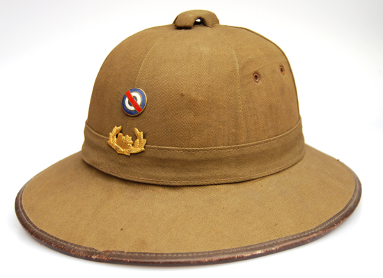A French-made M31 pattern sun helmet, likely supplied to Uruguay prior to WWII.
