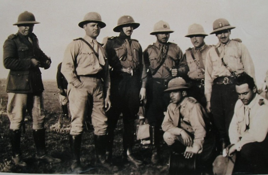 This undated – but likely 1930s era – photo show Uruguayan officers wearing a variety of helmets.