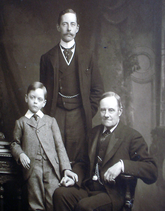 Sir Charles (center) with his eldest son and father