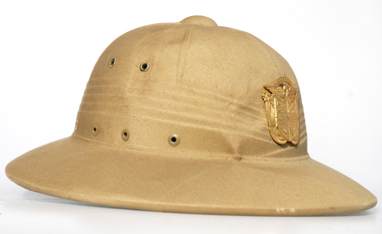 Both of these examples were purchased in Panama by the author at a military surplus store in Panama CityThese feature the PDF insignia on American-made pressed fiber helmets. The differences in helmet color suggest that there was no standard color.