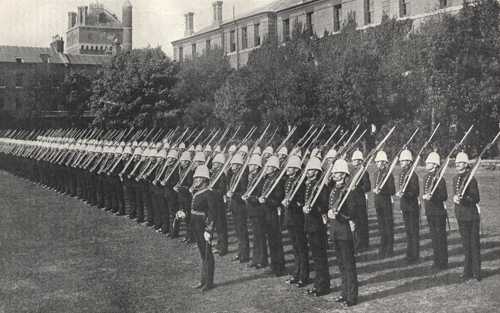 The King's Bodyguard of 100 picked men of the Royal Marine Artillery on parade in December 1914 from the Navy & Army Illustrated. (Author's collection)