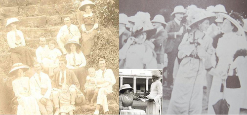 "Three pictures from the period before the First World War: Ladies at social events in the tropics. No wonder that these hats were known at that time as ""cartwheel hats""! The picture on the right is from Plain Tales from the Raj. 2"