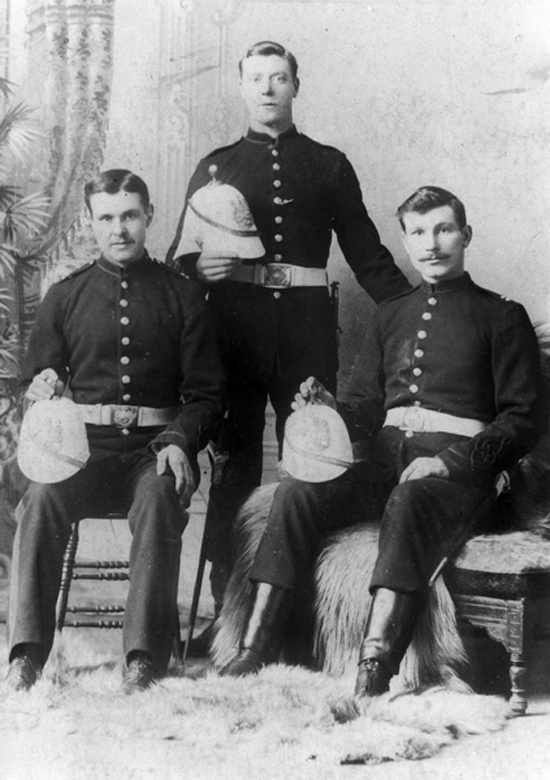 A period photo of three officers of the 5th British Columbia Artillery circa 1895