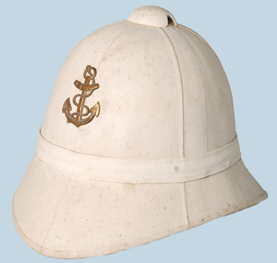 "The Model 1878 pattern helmet featured a six panel construction and was likely inspired by the British colonial pattern ""Foreign Service Helmet"""
