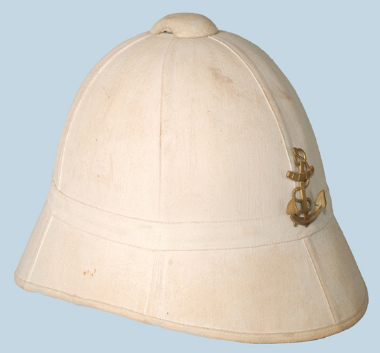 "The Model 1886 French sun helmet – a pattern known as the ""sugar loaf."""