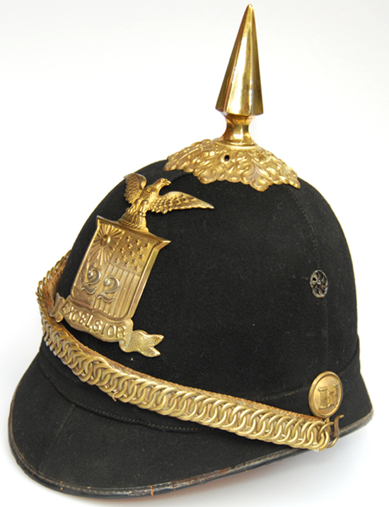National Guard as well as Army and Marine units wore the dark blue/black dress helmets. This example features a helmet plate for the 22nd New York National Guard Infantry.