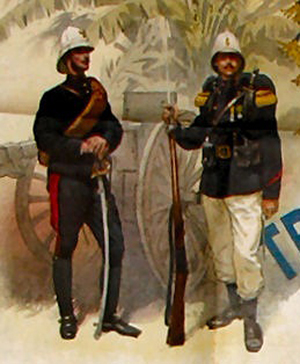 "An 1890′s period postcard shows two ""Troupes de Marine"" in uniform wearing M1878 (officer on the left) and M1886 (NCO on the right)."