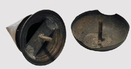"Fig 8: Detail of the official spiked and the semi-official ""field top"" worn on 1913 helmets. Both were made of copper, as this metal is very easy to blacken. Although the ""field-top"" was never officially regulated, it was extensively worn."