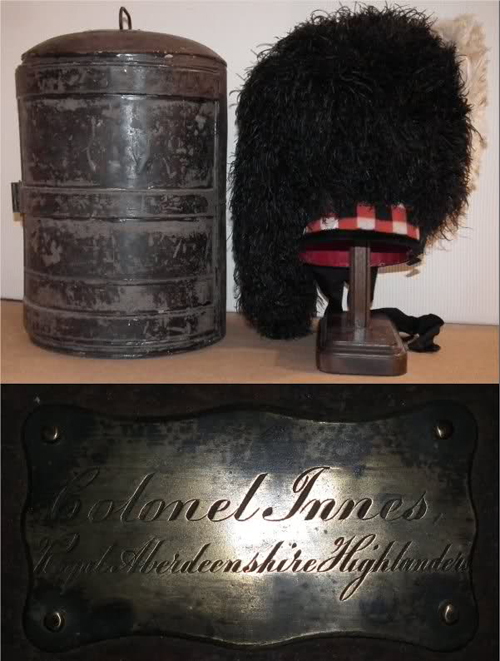 Royal Aberdeenshire Highlanders Storage Tin and Feather Bonnet. (Photo courtesy of Benny Bough)