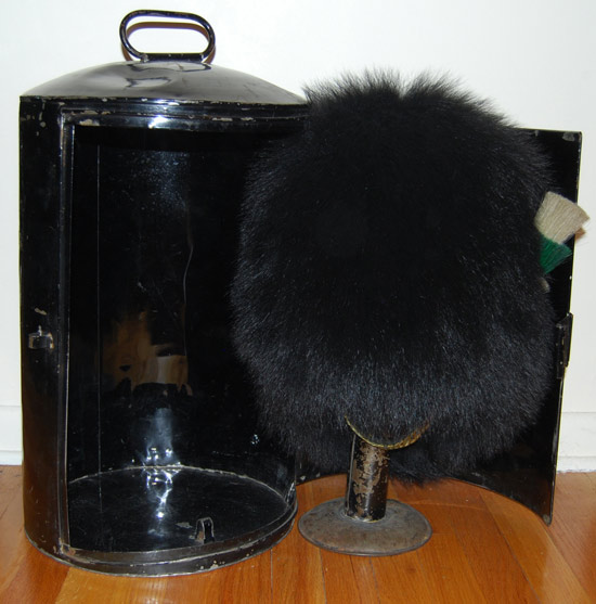 A bearskin cap and storage tin (Collection of Peter Suciu)