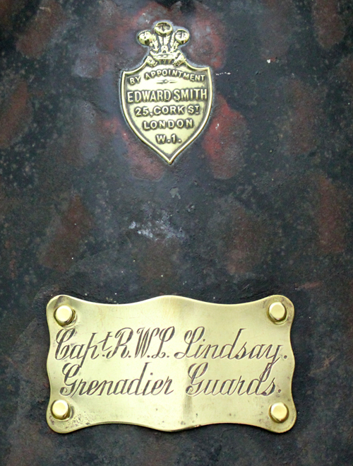A brass maker's plaque and owner's name and regiment plaque. (Author's collection)