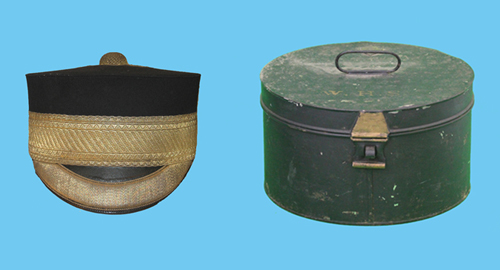 "A forage cap and tin attributed to Brigadier William Henry Sitwell. It has the Hawkes' plaque but only has painted on the lid ""W.H.S"" to identify the owner, Brigadier General William Henry Sitwell. (Author's collection)"