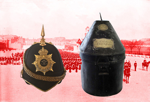 A Home Service Helmet and tin with brass plaques. This one to Lt. R.N. Colville, 4th Battalion, North Staffordshire Regiment. This style and size of tin was also used for the Colonial Pattern helmet. (Author's collection)