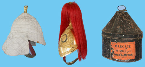 A dragoon helmet with tin and quilted cover for hot weather stations. This helmet to the 1st (King's) Dragoon Guards. (Author's collection)