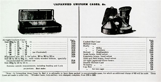 An advert for storage/transit tins from the Army & Navy Stores catalogue of 1907. (Author's catalogue)