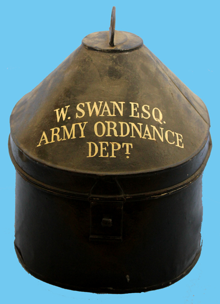 A tin with the owner's name and unit stenciled on. (Author's collection)