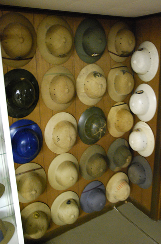 Part of the author's collection of Pressed Fiber Helmets