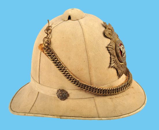 An example of a Colonial Pattern helmet with four panels rather than the more usual and authorized six panels. This example is to an Other Rank of the Queen's Royal Regiment (West Surrey). (Photo courtesy Roland Gruschka)