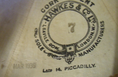 The Hawkes & Co. stamp and the date March 1936 are clearly visible to the interior. (Photo courtesy Christopher Mills)