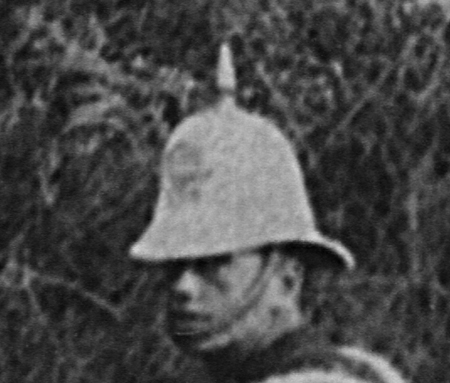 A close-up of the experimental helmet that was trialled by the Northamptonshire Regiment.