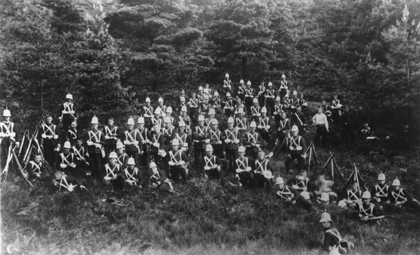 1st Battalion Northamptonshire Regiment c1892 wearing experimental helmets developed in the late 1880s. (Photo courtesy Michael Barthorp)