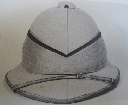 A Wolseley helmet with piping.