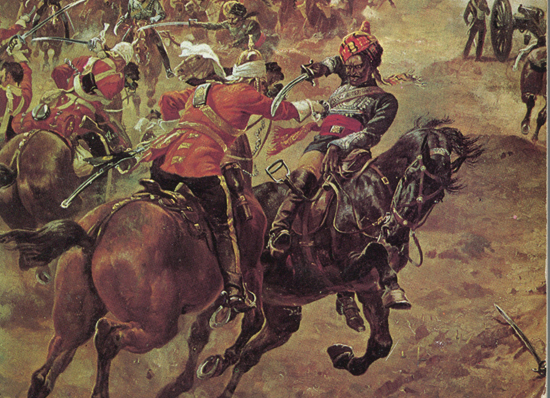 The 2nd Dragoon Guards (Queen's Bays) charging at Lucknow.