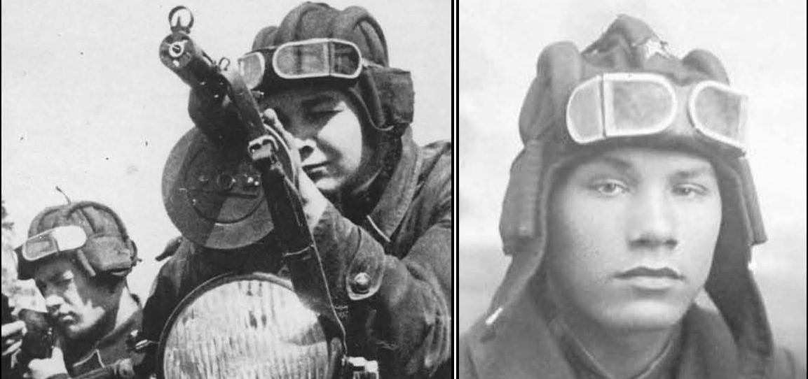 Figure17. The wartime RKKA design had three variations in the length of the windows to increase peripheral vision or fit the individual soldier's face. Left, the large 'long window' version on a motorcycle-sidecar team. Right, a RKKA tank crew member with the smaller 'short window' version.
