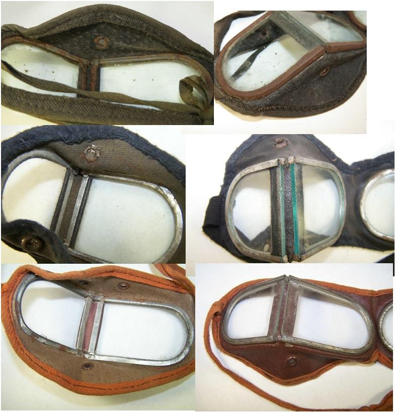 Figure 18. RKKA versions of the Russian military 'Protective Goggles'. Top, the course leather version, introduced in 1934, it was used until early WWII when shortages lead to an identical design using vinyl coated cotton canvas. Note the 'hinge' is actually a part of the flexible face mask. The same version was issued until 1954, when cheaper versions appear. Note the middle one is a small size with shorter 'D'- frames.