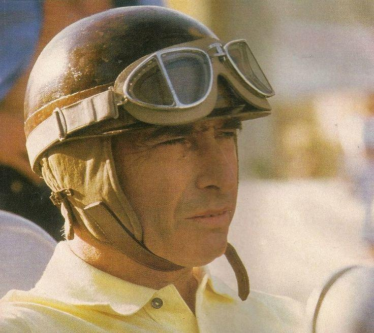 Figure 29. Post-war Italian 'Protector' laminated split lens goggles, by Ratti. Here worn by racing driver Fangio in the early 1950's. Also produced with dark tinting as 'Persol' -'for the sun'.