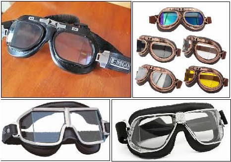 Figure 33. Other current manufacturers. Top left, a pair sold by the US company, EMG0. Top right, generic examples from China. Bottom right, split lens goggles by the Spanish company Climax. Bottom left, by the Italian company Nannini