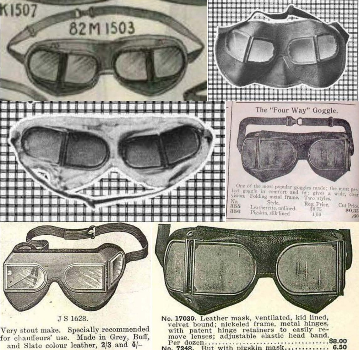 Figure 6. Top left, New York's Macy's catalogue, 1904; top right and middle left, Sak's catalogue, New York, 1905. Middle right, 1910, National Auto Supply Company, New York; bottom left, 1913 British advertisement (William Whitley Ltd), bottom right, 1915 U.S. (B.A.&CO. Chicago). Note, that both the middle and bottom right advertisements, although 5 years apart have the same image, they show a patented metal hinge, others relied on cloth hinges.